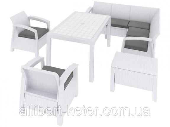 Набір садових меблів Corfu Relax Duo Max White ( білий ) з штучного ротанга ( Allibert by Keter )