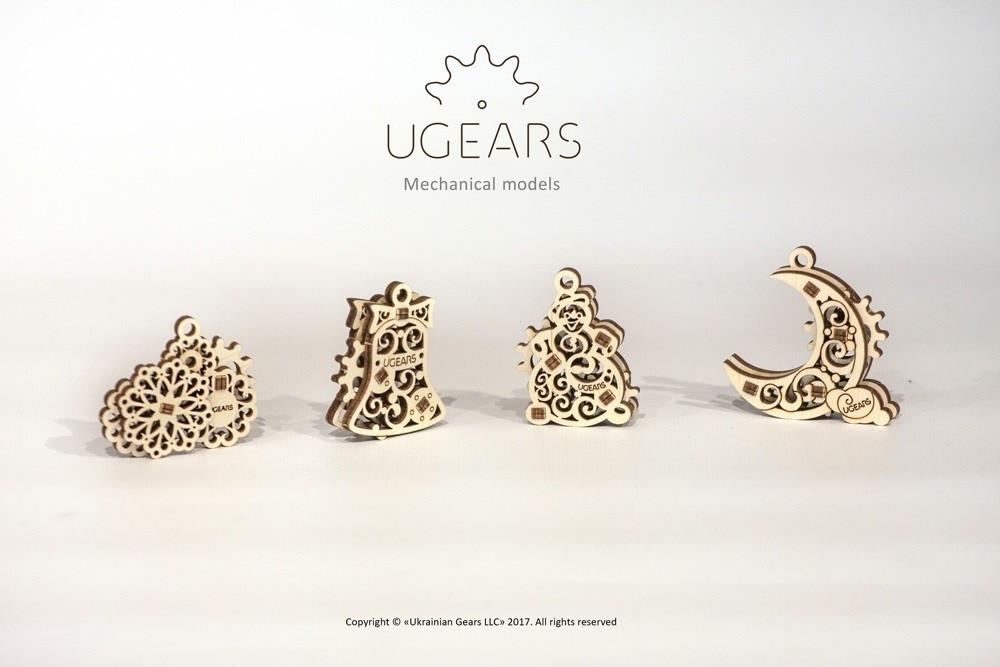 Фиджеты-Рождественники. Набор из 4 шт | UGEARS | Механический 3D конструктор из дерева