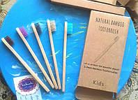 5 шт ДЕТСКИЕ Бамбуковые зубные щетки + нейлон, фото 1