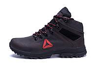 Мужские зимние кожаные ботинки Reebok Brown (реплика)