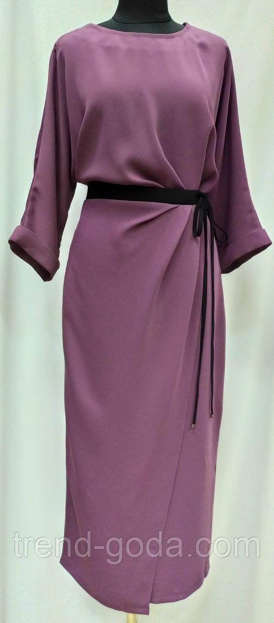 Платье нарядное лиловое с черным поясом, Турция