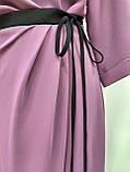 Платье нарядное лиловое с черным поясом, Турция, фото 4