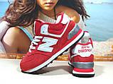 Кроссовки женские зимние New Balance 574 (реплика) красные 36 р., фото 5