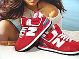 Кроссовки женские зимние New Balance 574 (реплика) красные 37 р., фото 3