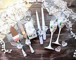 Свадебный набор бокалы, свечи и лопатка, нож для торта