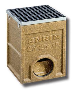 Дождеприемник  ANRIN SELF полимербетонный  с чугунной решеткой и корзиной для мусора, DN110
