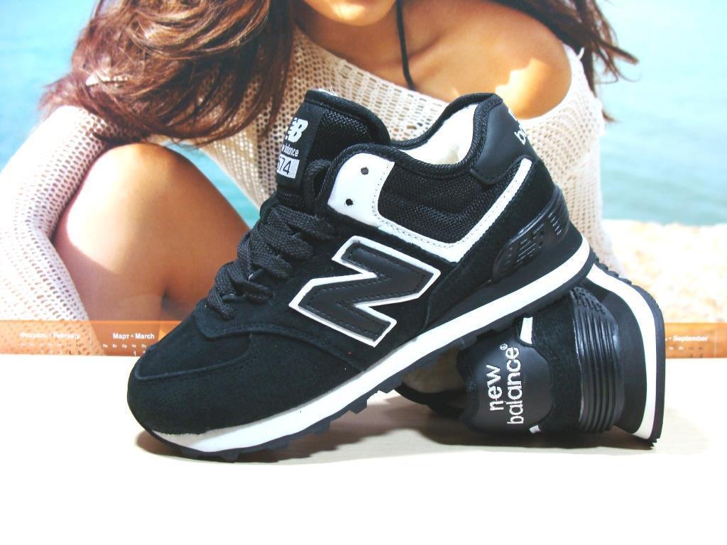 Женские кроссовки зимние New Balance 574 (реплика) черные 41 р.