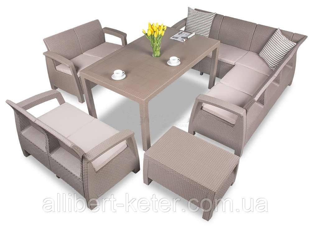 Набор садовой мебели Corfu Dining Love 9 Set из искусственного ротанга