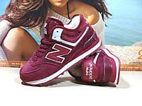 Кроссовки женские зимние New Balance 574 (реплика) бордовые 38 р., фото 1