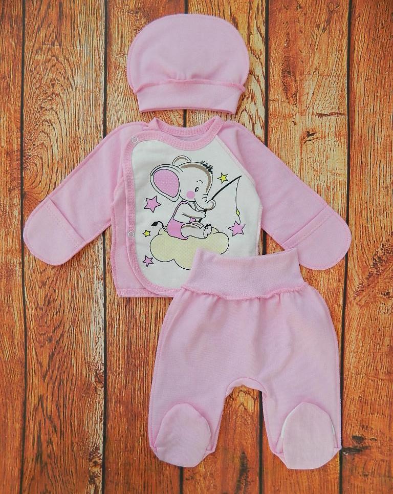 Тёплый комплект для новорождённой девочки Карусель - розовый