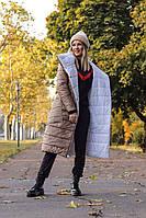 Двустороннее женское длинное тёплое пальто пуховик с карманами белое с бежевым