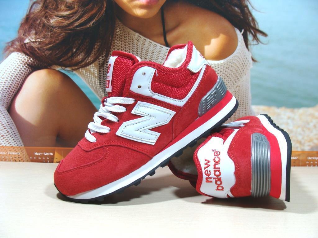 Женские кроссовки зимние New Balance 574 (реплика) красные 41 р.
