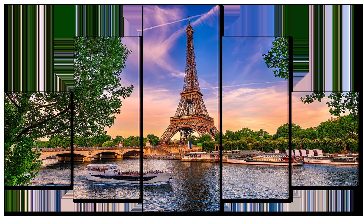 Модульная картина Interno Эко кожа Река во Франции Сена  158х90см (A4611XL)