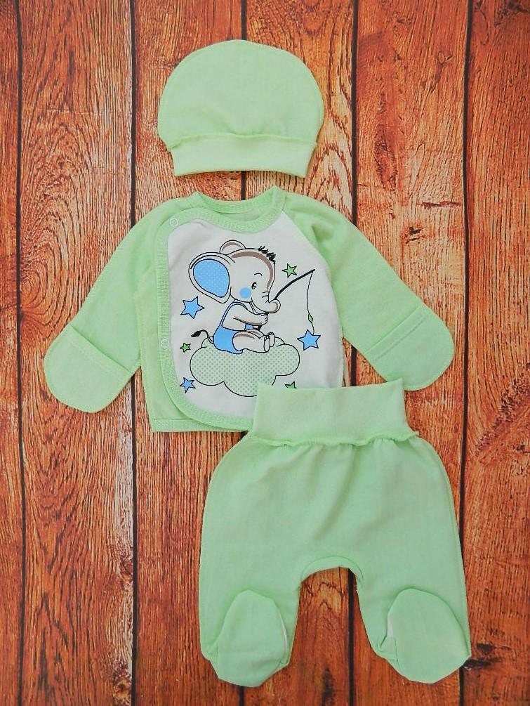 Тёплый комплект для новорождённого мальчика Карусель - Зелёный