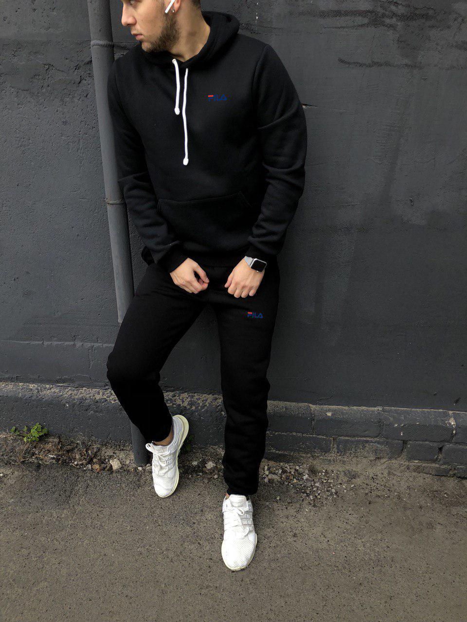 Мужской спортивный костюм флисовый с капюшоном черный Fila (копия)