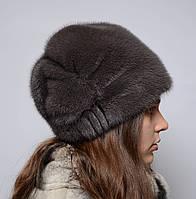 Женская норковая шапка кубанка Листок с трикотажем, фото 1