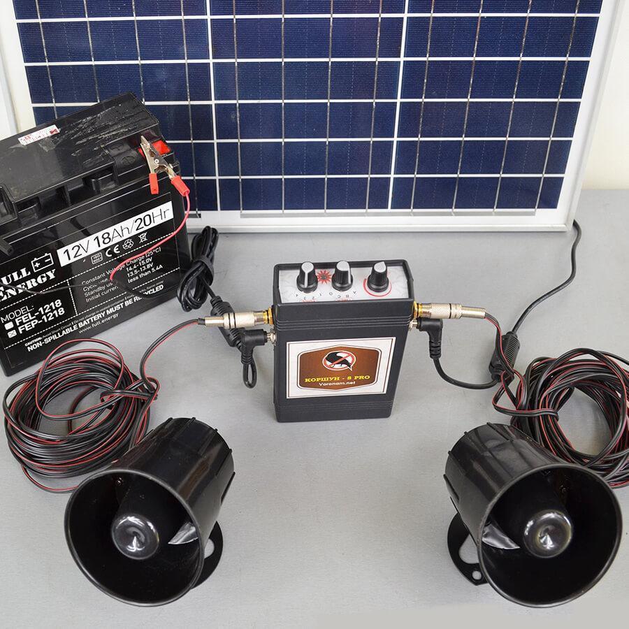 Звуковой отпугиватель птиц Коршун solar с солнечной панелью и аккумулятором