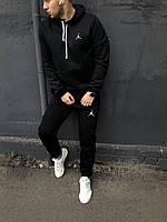 Мужской спортивный костюм флисовый с капюшоном черный Джордан (копия)