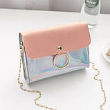 """Женская голографическая блестящая сумочка на цепочке """"БЛЕСК4"""" розовая, фото 2"""