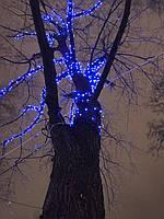 Уличная светодиодная гирлянда нить 100 LED синий 10 м черный провод