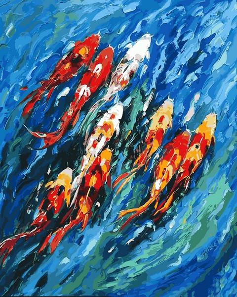 Картины по номерам 40×50 см. Карпы Кои 1 Художник Мариам Раззаги