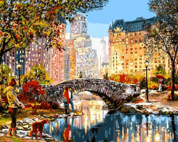 Картины по номерам 40×50 см. Прогулка по Центральному парку Художник Ричард Макнейл