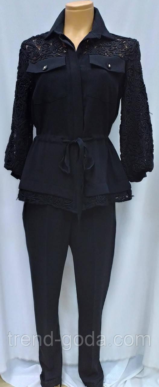 Костюм брючный  женский черный, пиджак с брюками, Турция