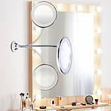 Светодиодное LED зеркало 5х Flexible Mirror для макияжа с присоской на гибкой ножке с увеличением., фото 4