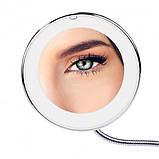 Светодиодное LED зеркало 5х Flexible Mirror для макияжа с присоской на гибкой ножке с увеличением., фото 6
