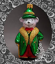Стеклянная елочная игрушка Крыс олигарх 76/к, фото 3