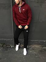 Мужской спортивный костюм флисовый с капюшоном бордово-черный Adidas (копия)