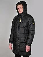 Зимняя мужская куртка теплая с капюшоном удлиненная. Живое фото, фото 1