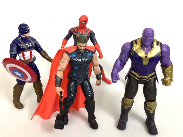 Набор фигурок Мстители Война бесконечности (Тор, Человек Паук, Танос, Капитан Америка, Капитан Марвел)