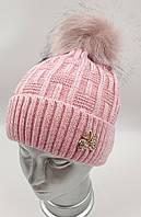 """Дитяча шапочка для дівчинки """"Стовпчики"""" на флісі, без зав'язок, код ДФ7154, фото 1"""