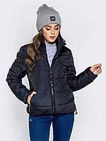 Женская куртка демисезонная без капюшона черная. Живое фото, фото 1