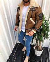Зимняя мужская дублёнка теплая коричневая. Живое фото