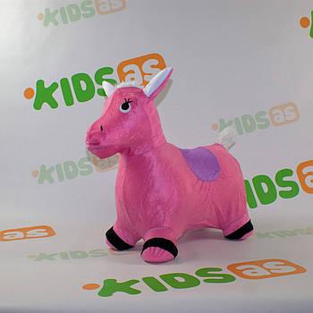 Прыгун-лошадка надувной MS 0325 в мягком чехле для малышей розовый
