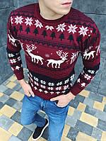 Мужской зимний свитер с оленями бордовый. Живое фото
