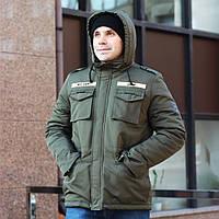 Зимняя мужская куртка с капюшоном M65 Giant хаки Живое фото