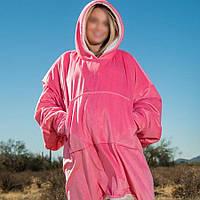 Толстовка  плед с капюшоном COMFY BEAR, плед с рукавами Розовый