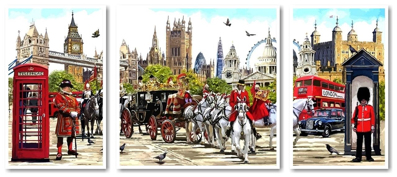 Картины по номерам 50х110 см. Триптих Лондон столица Англии и Соединенного Королевства