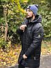 Зимняя мужская куртка удлиненная парка с капюшоном черная. Живое фото