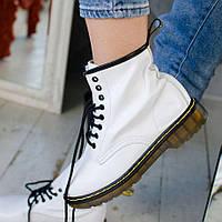 Женские зимние ботинки Dr. Martens 1460 White белые с черным без меха 36-41рр. Реальное фото. Реплик, фото 1