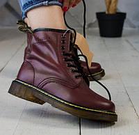 Женские зимние ботинки Dr. Martens 1460 бордовые без меха 36-40рр. Реальное фото. Топ реплика