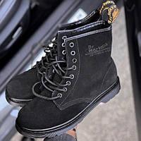 Женские зимние ботинки Dr.Martens 1460 Black Suede замш без меха 30-40р. Реальное фото. Топ реплика