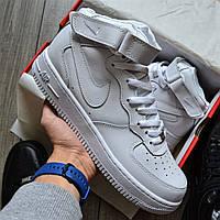 """Мужские кроссовки Nike Air Force 1 Mid """"White"""" белые 40-45рр. Живое фото (Реплика ААА+)"""