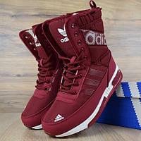 Женские зимние сапоги дутики Adidas с мехом бордовые (зимние сапоги). Реплика, фото 1