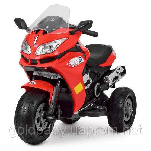 Детский мотоцикл Bambi M 3688EL-3, кожаное сиденье, красный, фото 1