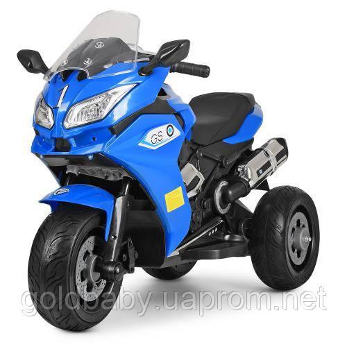 Детский мотоцикл Bambi M 3688EL-4, кожаное сиденье, синий, фото 1