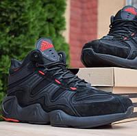 Зимние мужские кроссовки Adidas Equipment FYW S-97 черные с красным 41-46рр. Живое фото. Реплика